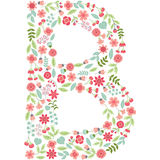 Vector floral letter B. Vector floral abc. English floral. Vector floral letter B. The capital letter B is made of floral elements - pastel flowers, petals and Royalty Free Stock Photos