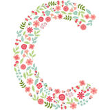 Vector floral letter C. Vector floral abc. English floral  Royalty Free Stock Photo
