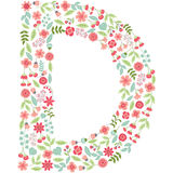 Vector floral letter D. Vector floral abc. English floral. Vector floral letter D. The capital letter D is made of floral elements - pastel flowers, petals and Royalty Free Illustration