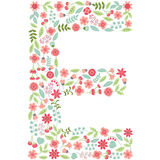 Vector floral letter E. Vector floral abc. English floral. Vector floral letter E. The capital letter E is made of floral elements - pastel flowers, petals and Stock Images