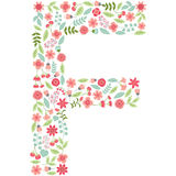 Vector floral letter F. Vector floral abc. English floral. Vector floral letter F. The capital letter F is made of floral elements - pastel flowers, petals and Stock Photo