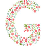 Vector floral letter G. Vector floral abc. English floral. Vector floral letter G. The capital letter G is made of floral elements - pastel flowers, petals and Royalty Free Stock Photography