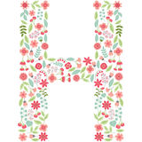 Vector floral letter H. Vector floral abc. English floral. Vector floral letter H. The capital letter H is made of floral elements - pastel flowers, petals and Vector Illustration