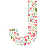 Vector floral letter J. Vector floral abc. English floral. Vector floral letter J. The capital letter J is made of floral elements - pastel flowers, petals and Royalty Free Illustration