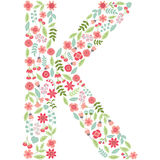 Vector floral letter K. Vector floral abc. English floral. Vector floral letter K. The capital letter K is made of floral elements - pastel flowers, petals and Stock Illustration