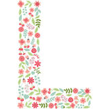 Vector floral letter L. Vector floral abc. English floral alphab. Vector floral letter L. The capital letter L is made of floral elements - pastel flowers stock illustration