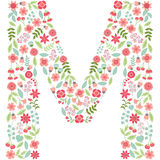 Vector floral letter M. Vector floral abc. English floral. Vector floral letter M. The capital letter M is made of floral elements - pastel flowers, petals and Royalty Free Illustration