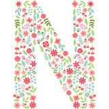 Vector floral letter N. Vector floral abc. English floral. Vector floral letter N. The capital letter N is made of floral elements - pastel flowers, petals and Vector Illustration