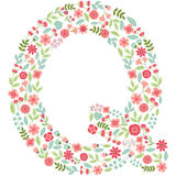 Vector floral letter Q. Vector floral abc. English floral. Vector floral letter Q. The capital letter Q is made of floral elements - pastel flowers, petals and Vector Illustration