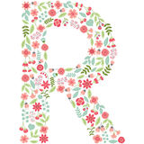 Vector floral letter R. Vector floral abc. English floral. Vector floral letter R. The capital letter R is made of floral elements - pastel flowers, petals and Vector Illustration