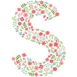 Vector floral letter S. Vector floral abc. English floral. Vector floral letter S. The capital letter S is made of floral elements - pastel flowers, petals and Stock Illustration