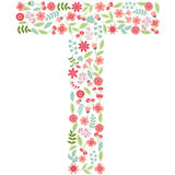 Vector floral letter T. Vector floral abc. English floral  Royalty Free Stock Images