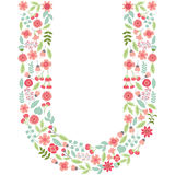Vector floral letter U. Vector floral abc. English floral. Vector floral letter U. The capital letter U is made of floral elements - pastel flowers, petals and Stock Illustration