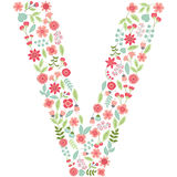 Vector floral letter V. Vector floral abc. English floral. Vector floral letter V. The capital letter V is made of floral elements - pastel flowers, petals and Royalty Free Stock Photography