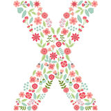 Vector floral letter X. Vector floral abc. English floral. Vector floral letter X. The capital letter X is made of floral elements - pastel flowers, petals and Stock Photo