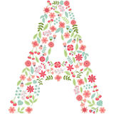 Vector floral letter A. Vector floral abc. English floral. Vector floral letter A. The capital letter A is made of floral elements - pastel flowers, petals and Stock Illustration