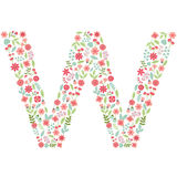 Vector floral letter W. Vector floral abc. English floral. Vector floral letter W. The capital letter W is made of floral elements - pastel flowers, petals and Royalty Free Stock Image