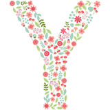 Vector floral letter Y. Vector floral abc. English floral. Vector floral letter Y. The capital letter Y is made of floral elements - pastel flowers, petals and stock illustration