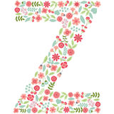 Vector floral letter Z. Vector floral abc. English floral alphab. Vector floral letter Z. The capital letter Z is made of floral elements - pastel flowers Royalty Free Stock Image