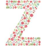 Vector floral letter Z. Vector floral abc. English floral alphab. Vector floral letter Z. The capital letter Z is made of floral elements - pastel flowers stock illustration