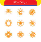 Vector floral line icons & logo design templates in outline styl Royalty Free Stock Photo