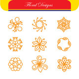 Vector floral line icons & logo design templates in outline Royalty Free Stock Images