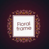 Vector floral linear style frame - art deco border. For text. Title and page Stock Illustration