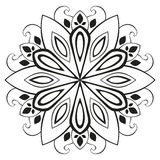 Vector floral mandala. Black and white drawing of a circular ornament stock illustration