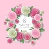 Vector floral 8 March greeting card in paper art style. Happy Womens Day, vector floral greeting card design in paper art style. 8 March festive paper cut Royalty Free Stock Images