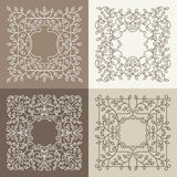 Vector floral mono line frame with copy space Stock Photography