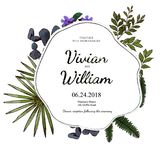 Vector floral and nature mix design card. Vector floral design card. Green fern forest & Stone & Flower plant greenery mix. Naturall Greeting wedding invitation Stock Photography