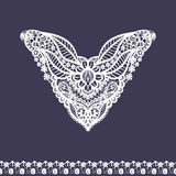 Vector floral neckline and lace border design for fashion. Flowers and leaves neck print. Chest lace embellishment Royalty Free Stock Images