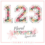Vector floral numbers for t-shirts, posters, card and other uses. Royalty Free Stock Image