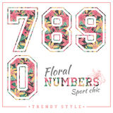 Vector floral numbers for t-shirts, posters, card and other uses. Royalty Free Stock Images