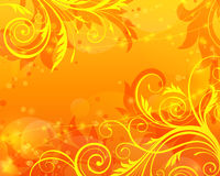 Vector floral orange background. Vector orange background with floral pattern Stock Photo