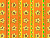 Vector Floral Orange Striped Wallpaper Background Stock Photos