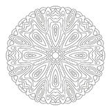 Vector floral ornament. Round mandala drawn with black lines on a white background royalty free illustration