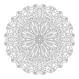 Vector floral ornament. Round mandala drawn with black lines on a white background vector illustration