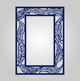 Vector floral ornamental cutout panel for laser cutting. Filigree cutout frame. Wood carving for photo frame. May be used for laser cutting. Lazercut wedding Royalty Free Stock Photos