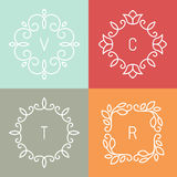 Vector floral outline frames Stock Image