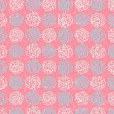 Vector floral pattern with beautiful blue circle flowers, made of petals on pink background. stock illustration