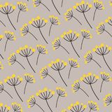 Vector floral pattern on a beige background. Floral pattern with yellow flowers on a beige background. Vector background. Perfect for wrap paper, wallpaper Stock Image