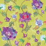 Vector floral pattern with chrysanthemum, peony, aster. Asian theme Royalty Free Stock Image