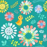 Vector floral pattern with colorful  flowers and birds . Stock Images