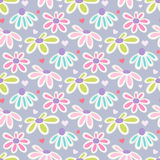 Vector floral pattern with cute daisies. Royalty Free Stock Photo