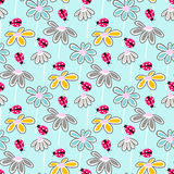 Vector floral pattern with cute daisies. Stock Photography