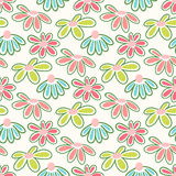 Vector floral pattern with cute daisies. Seamless floral pattern with spring flowers and leaves Stock Image