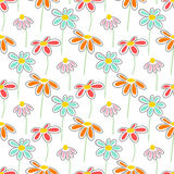 Vector floral pattern with cute daisies. Seamless floral pattern with spring flowers and leaves Stock Images
