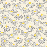 Vector floral pattern with cute daisies. Stock Image