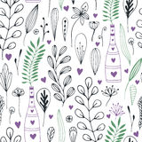 Vector floral pattern with doodle flowers and leaves. Spring nature print for wrapping or textile design. Stock Image